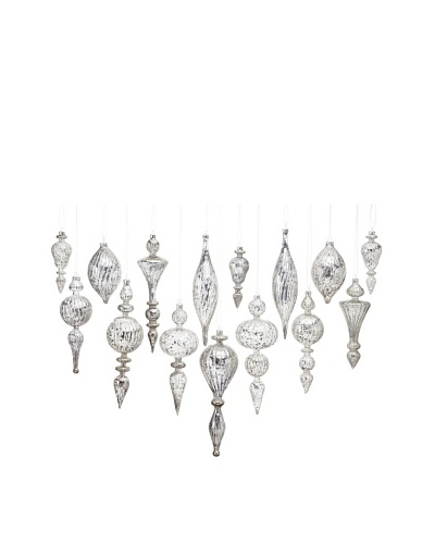 Shiraleah Set of 15 Assorted Sculptured Glass Ornaments