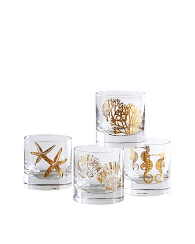 Shiraleah Set of 4 Assorted Coastal 8-oz. Bar Glasses