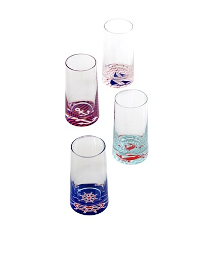 Shiraleah Set of 4 Assorted Coastal 10-Oz. Highball Glasses