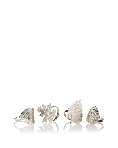 Shiraleah Set of 4 Assorted Autumn Napkin Rings, Silver