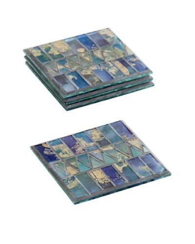 Shiraleah Set of 4 Midar Aqua Mosaic Coasters