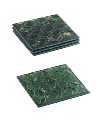 Shiraleah Set of 4 Slimane Emerald Mosaic Coasters
