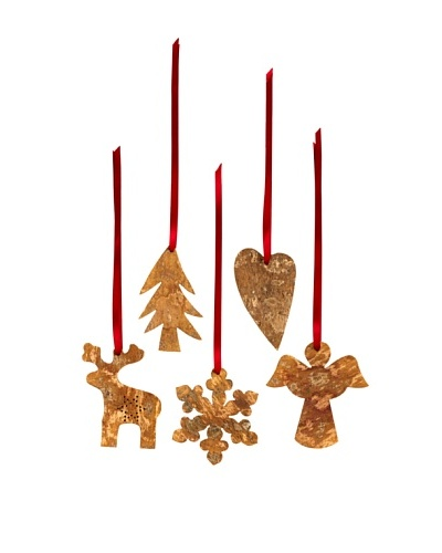 Shiraleah Assorted Set of 5 Hand Carved Ornaments
