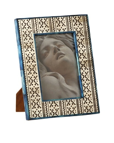 "Shiraleah Brown Block-Print Bone 5"" x 7"" Picture Frame"