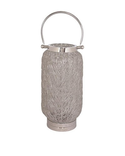 Sidney Marcus Steel Mesh Capsule Candle Holder, Polished Nickel