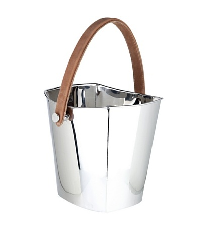 Sidney Marcus Hampton Stainless Steel Wine Cooler with Leather Handle, Polished