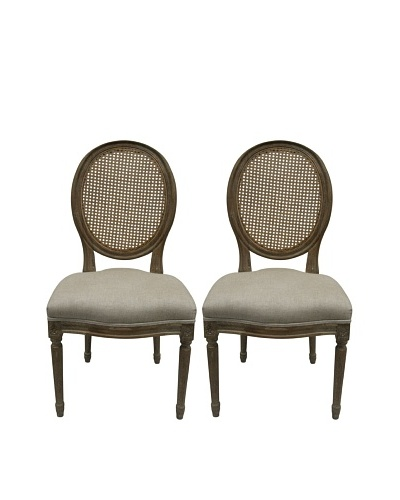 nuLOOM Set of 2 Helen Linen Round Back Chairs