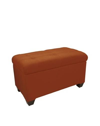 Skyline Tufted Storage Bench, Patriot Tangerine