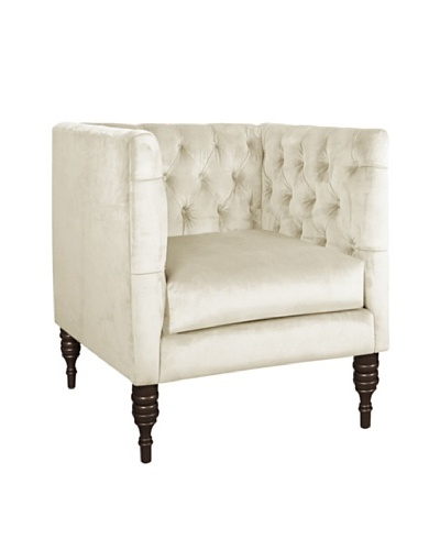 Skyline Velvet Tufted Chair, Regal Antique White
