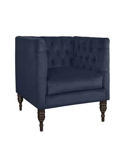 Skyline Velvet Tufted Chair, Regal Navy