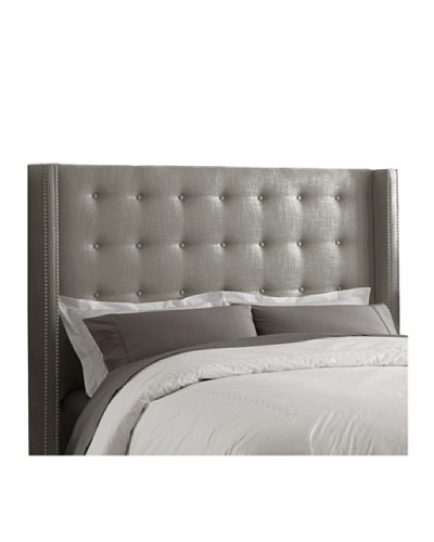 Skyline Pewter Nail Button Tufted Wingback Headboard
