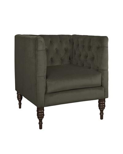 Skyline Velvet Tufted Chair, Pewter