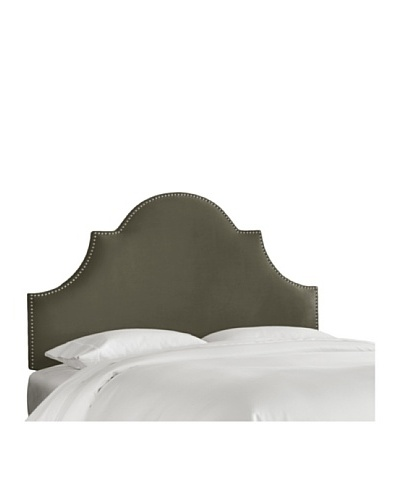 Skyline High Arch Nail Button Velvet Headboard