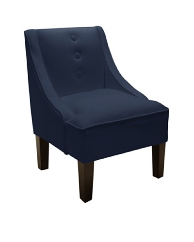 Skyline Swoop Arm Chair with Buttons, Navy