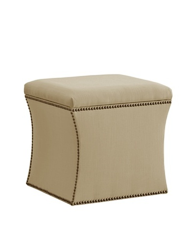 Skyline Nail Button Storage Ottoman, Sandstone
