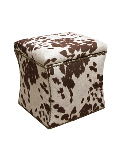 Skyline Brass Nail Button Storage Ottoman, Milk