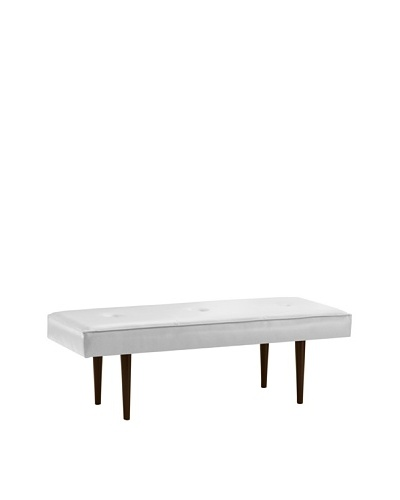 Skyline Furniture Modern Bench with Buttons, Classico White