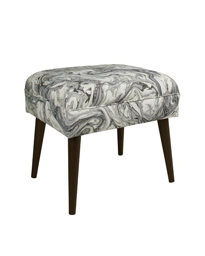 Skyline Furniture Ottoman with Cone Legs, Marbleized Zinc