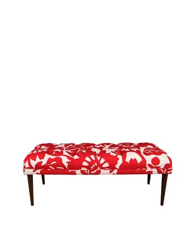 Skyline Furniture Tufted Bench with Cone Legs, Gerber Cherry
