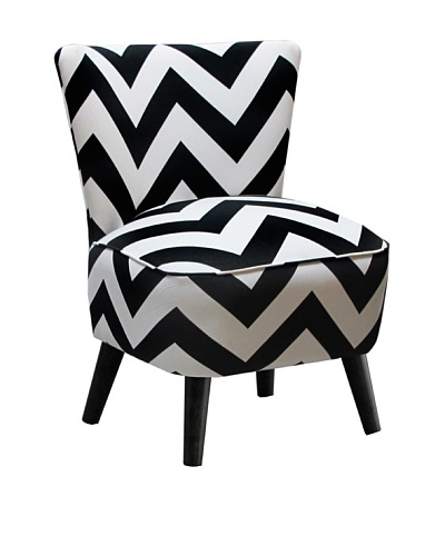 Skyline Furniture Modern Chair, Zig Zag Black/White