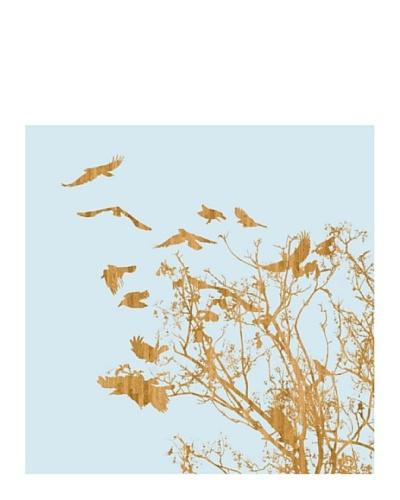 """Art Addiction Woodcut Birds IIII 30"""" x 30"""" Acrylic Panel"""