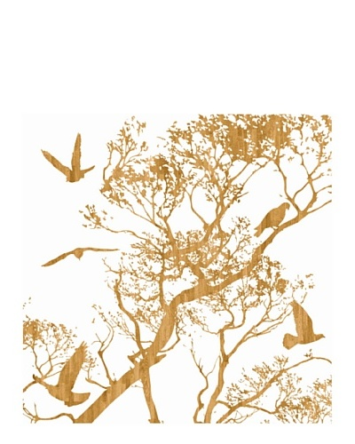 """Art Addiction Woodcut Birds II 30"""" x 30"""" Acrylic Panel"""
