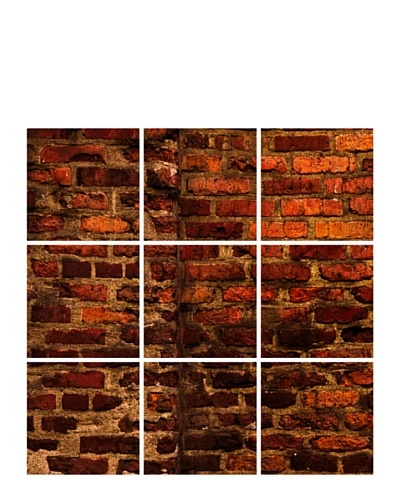 Art Addiction Set of 9 Red Brick Wall 12 x 12 Acrylic Panels