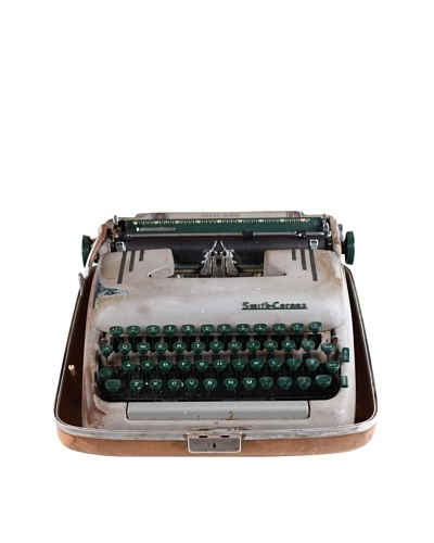 Smith Corona Vintage Typewriter, Grey/Green