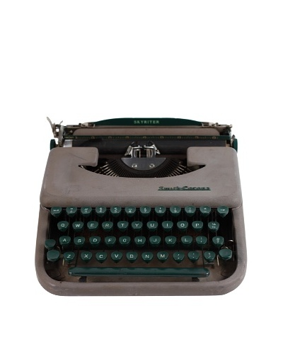 Smith Corona Vintage Typewriter, Grey/Green