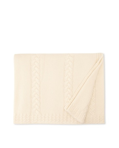Sofia Cashmere Calabria Cable Stripe Knit Throw [Ivory]