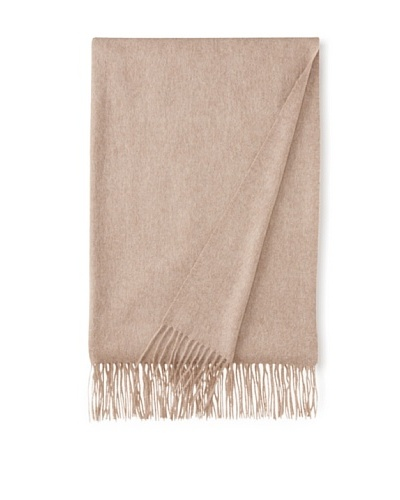 "Sofia Cashmere Fringe Throw, Camel, 58"" x 62"""