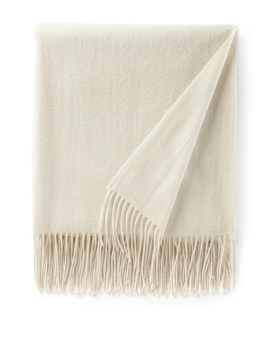 Sofia Cashmere Fringed Woven Throw, Ivory, 56 x 66