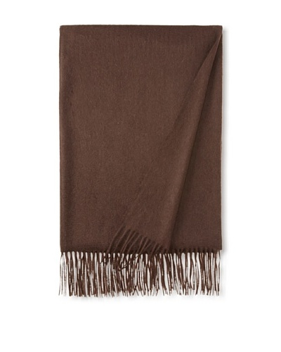 Sofia Cashmere Fringe Throw, Brown, 58 x 62