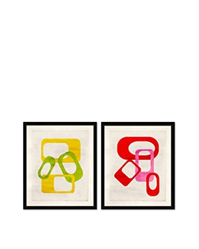 Soicher Marin Set of 2 Mod Giclée Reproductions, Green/Yellow/Red/Pink