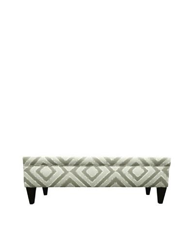 Sole Designs Brooke 10 Button Tufted Storage Bench, Nouveau Platinum