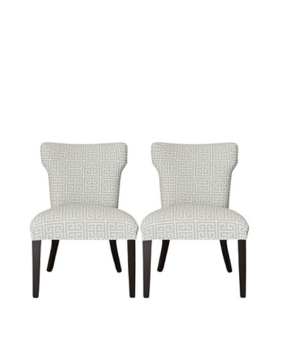 Sole Designs Set of 2 Melrose Chain Wingback Chairs, Light Blue