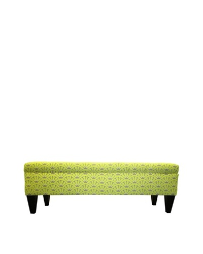 Sole Designs Brooke 10 Button Tufted Storage Bench, Bonjour Wassabi