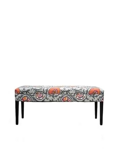 Sole Designs Willard Bench, Grey/Orange