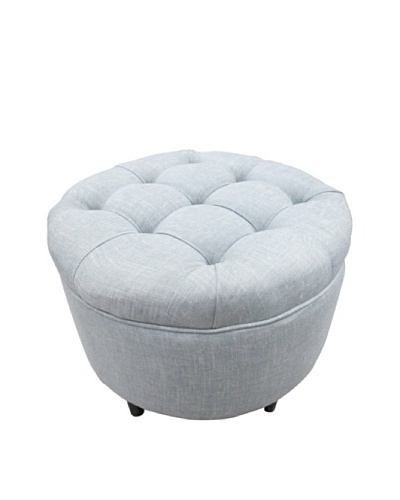 Sole Designs Tufted Round Ottoman, Light Blue