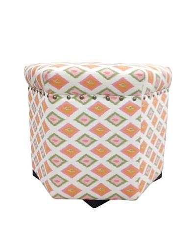 Sole Designs Orange Diamond Hex Ottoman, Orange/Natural