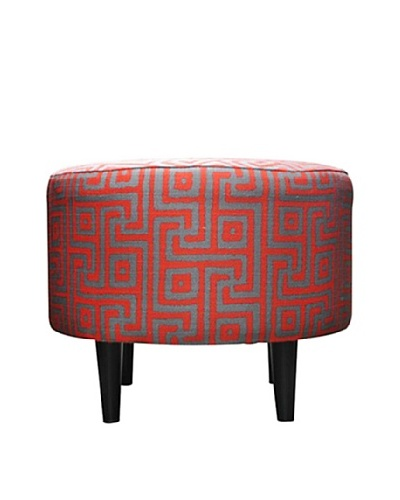 Sole Designs Sophia Atomic Round Ottoman, Red
