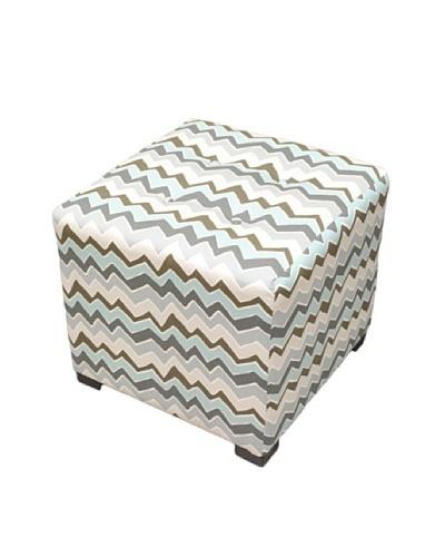 Sole Designs Denton Zigzag Ottoman, Grey/Blue