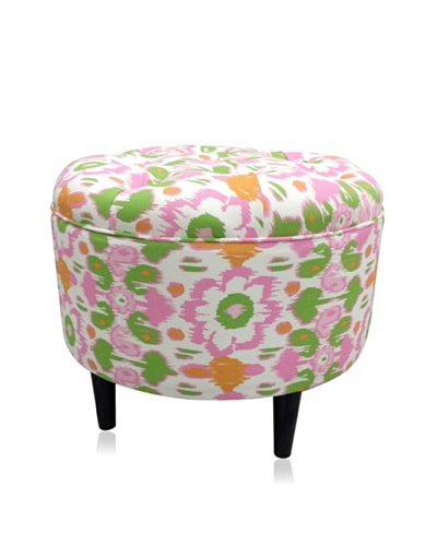 Sole Designs Daisy Flora Round Ottoman, Pink/Green/White