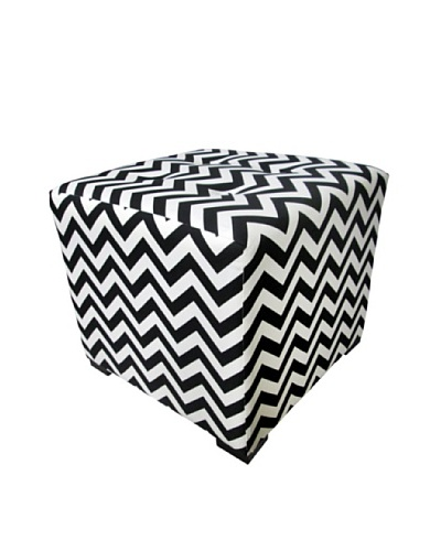 Sole Designs Merton ZZ Button-Tufted Square Ottoman, Black/White