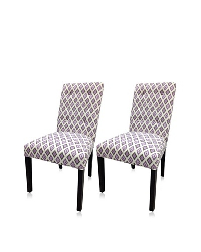 Sole Designs Set of 2 Button Tufted Straightback Chairs, Lavender/Purple