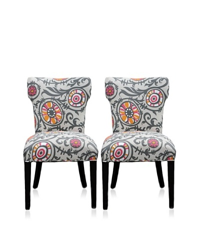 Sole Designs Set of 2 Willard Wingback Chairs, Grey/Orange