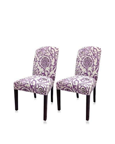 Sole Designs Set of 2 Passion Camelback Chairs, Purple