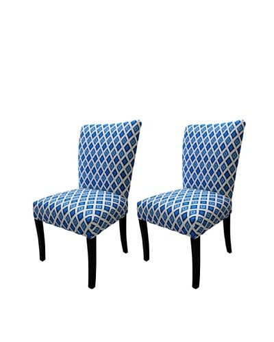 Sole Designs Set of 2 Julia Carnival Blue Fanback Chairs