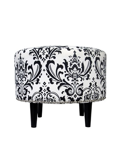 Sole Designs Sophia Traditions Round Ottoman, Black/White