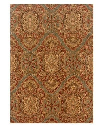 Langley Handspun Wool Rug [Green/Cinnamon]